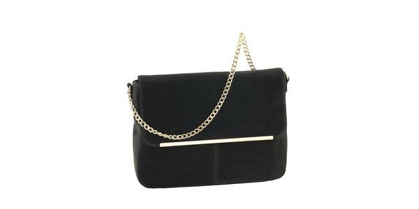 Dámská černá kožená kabelka se zlatým řetízkem Tina Panicucci