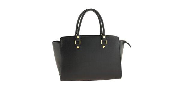 Dámská černá kožená kabelka s pevnými uchy Tina Panicucci