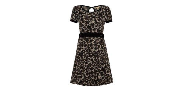 Dámské šaty s černým květinovým vzorem a dekorativními knoflíky Yumi