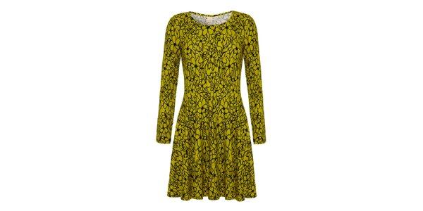 Dámské limetkové šaty s květinami Yumi