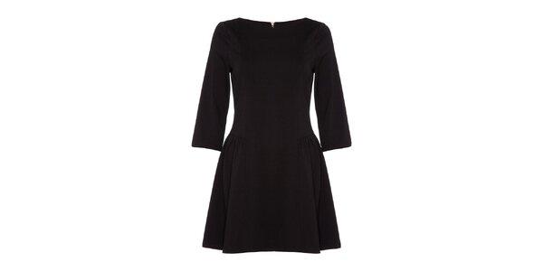 Dámské černé šaty s 3/4 rukávy Yumi