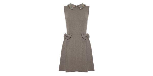 Dámské šedé šaty se zdobeným límečkem Yumi