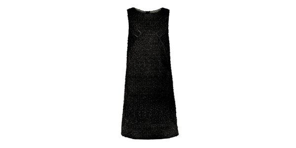 Dámské černé šaty s drobnými flitry Yumi
