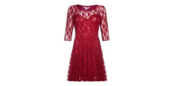 Dámské červené krajkové šaty Yumi
