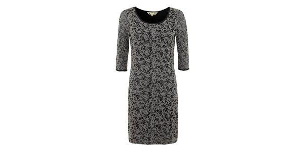 Dámské černo-šedé šaty s kytičkami Yumi
