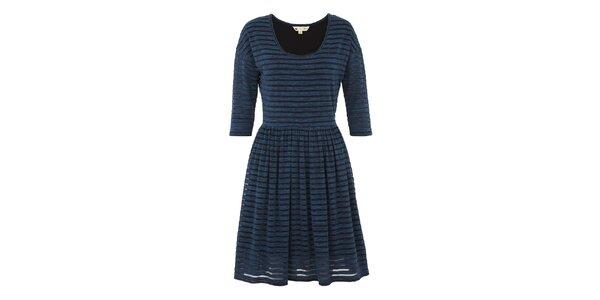 Dámské modré melírované šaty s pruhy Yumi