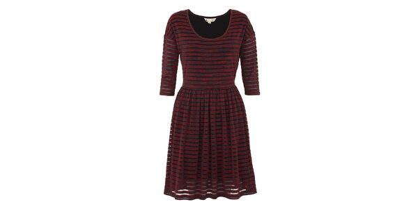 Dámské červené melírované šaty s pruhy Yumi