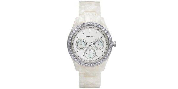 Dámské hodinky s perleťovým řemínkem Fossil