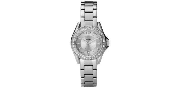 Dámské ocelové hodinky s bílými zirkony Fossil