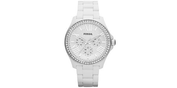 Dámské bílé hodinky se zirkonky na lunetě Fossil