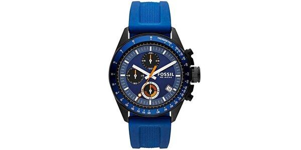 Pánské hodinky s modrým silikonovým páskem Fossil c48c1e43c2