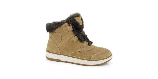 Dámské béžové boty s kožíškem Kimberfeel