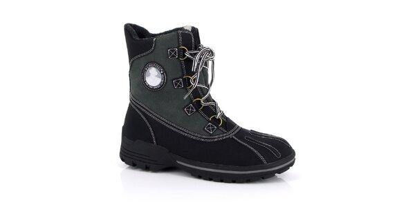 Pánské černé kotníkové boty s nášivkou Kimberfeel