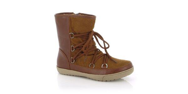 Dámské hnědé boty s tkaničkami Kimberfeel