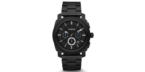 Pánské černé hodinky s modrými ručičkami Fossil