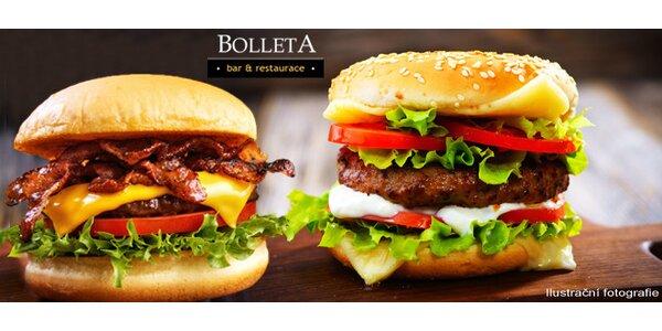 Šťavnatý burger dle výběru v restauraci BolletA