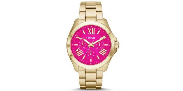 Dámské pozlacené hodinky s růžovým ciferníkem Fossil