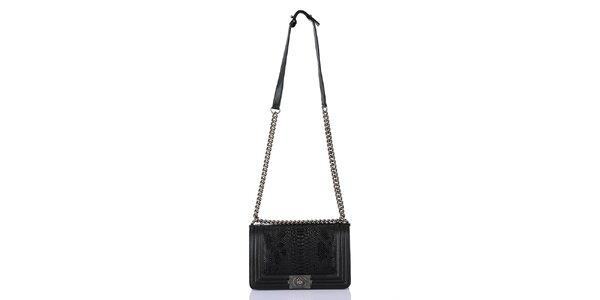 Dámská černá kabelka s popruhem a hadím vzorem Giorgio di Mare