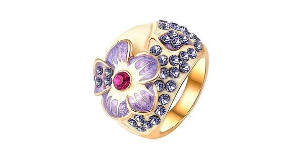 Dámský pozlacený prsten s květinou a krystalky Victoria de Bastilla