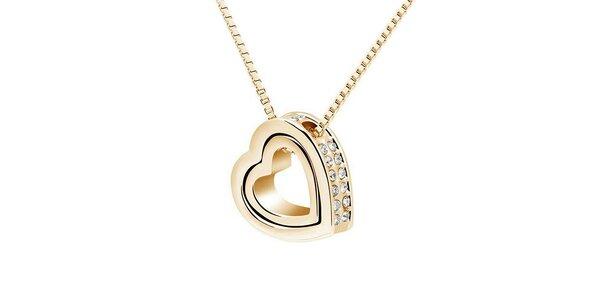Dámský pozlacený srdíčkový náhrdelník s krystaly Victoria de Bastilla