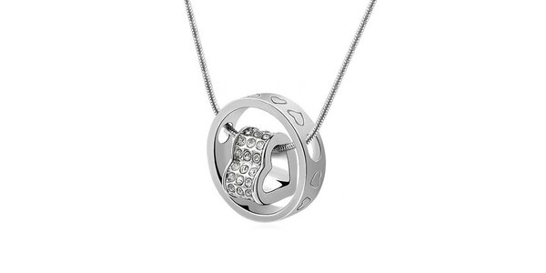 Dámský náhrdelník s kroužkem a srdíčkem zdobený krystalky Victoria de Bastilla