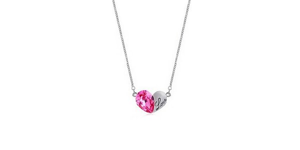 Dámský náhrdelník s růžovým krystalkem Victoria de Bastilla
