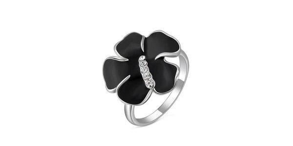 Dámský prsten s černou květinou Victoria de Bastilla