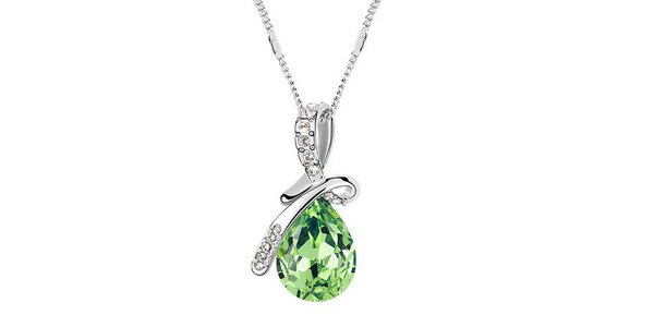 Dámský náhrdelník se zeleným krystalem a bílými kamínky Victoria de Bastilla