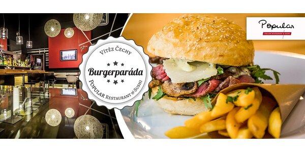 Dva špičkové burgery z restaurace Popular