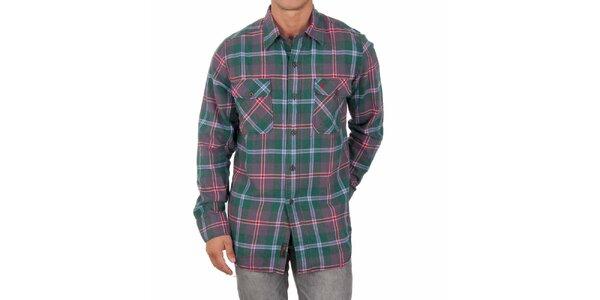 Pánská zelená košile s barevnými proužky Marlboro Classics