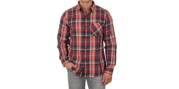Pánská červená košile s dlouhým rukávem Marlboro Classics