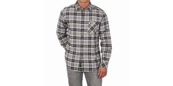 Pánská šedá kostkovaná košile Marlboro Classics