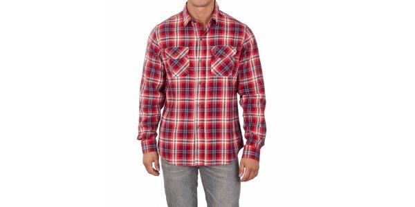 Pánská červená košile s barevnými proužky Marlboro