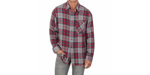 Pánská červeno-šedá košile s dlouhým rukávem Marlboro Classics