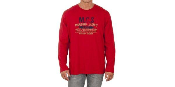 Pánské červené triko s dlouhým rukávem Marlboro Classics
