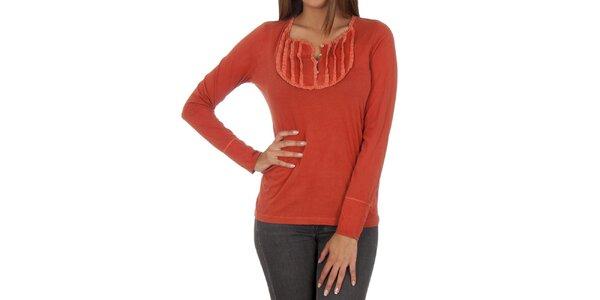 Dámské oranžové tričko s dekorativním výstřihem Marlboro Classics