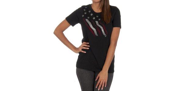 Dámské černé tričko s dekorativní aplikací Marlboro Classics