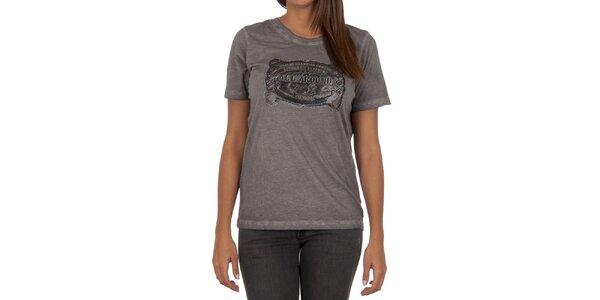 Dámské šedé tričko s krátkým rukávem a potiskem Marlboro Classics