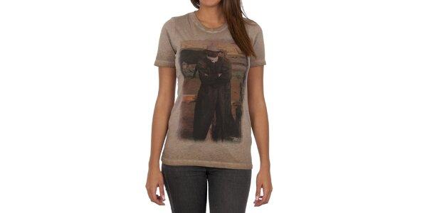 Dámské světle hnědé tričko s barevným potiskem Marlboro Classics