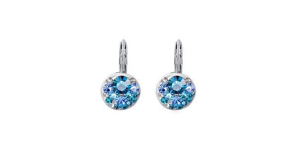 Dámské pozlacené náušnice s modrými a bílými krystalky Victoria de Bastilla