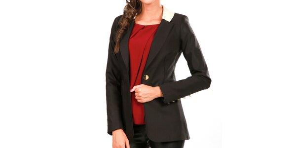 Dámské černé sako s kontrastním límečkem Isabel Queen