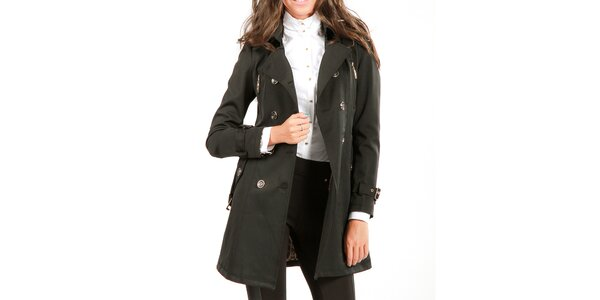 Dámský černý dvouřadý kabát Isabel Queen