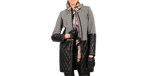 Dámský šedý kabát s černou koženkou Isabel Queen