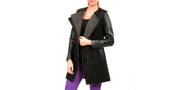 Dámský černo-šedý kabát s koženkovými rukávy Isabel Queen