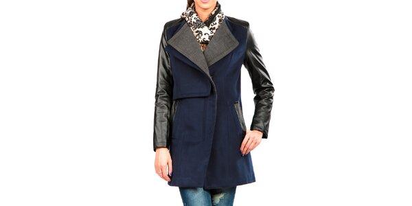 Dámský modro-šedý kabát s koženkovými rukávy Isabel Queen