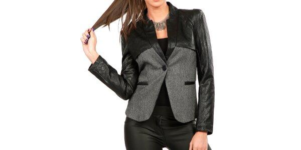 Dámské šedé sako s koženkovými rukávy Isabel Queen