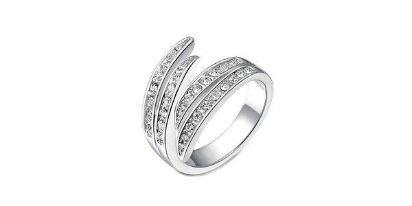 Dámský prsten stříbrné barvy s bílými krystalky Victori de Bastilla