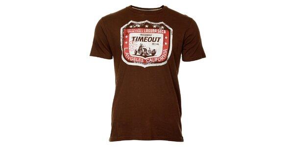 Pánské hnědé tričko Timeout s potiskem
