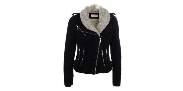 Dámská krátká černá bunda s kožíškem Blue Deise