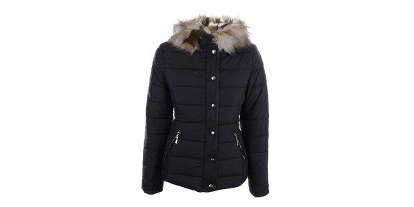 Dámská tmavomodrá zimní bunda s kapucí Bilin
